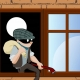 thief-steal-house window climbs stealing concept burglar crime safety security mask danger robbery robber gangster criminal arrest burglary
