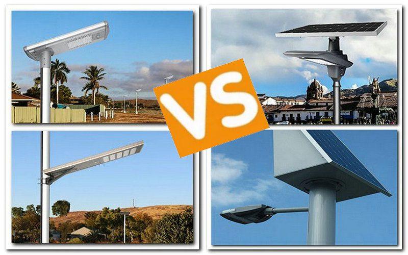all in one solar lamps solution vs semi split solar street lights
